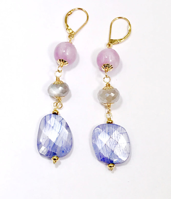 Sapphire Gem Slice and Kunzite, Moonstone Dangle Earrings
