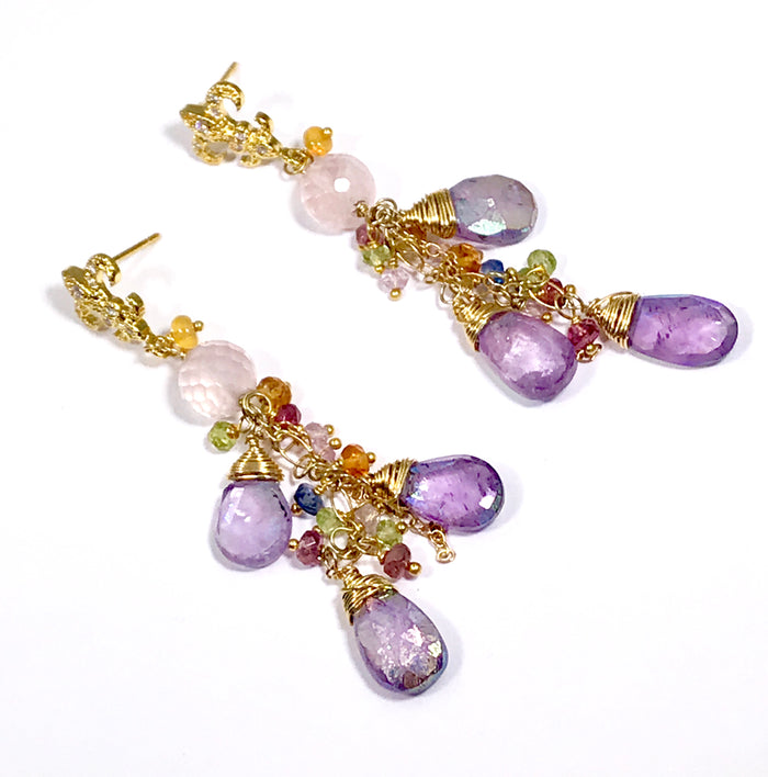 Mystic Amethyst Dangle and Gold Fill Beaded Earrings - doolittlejewelry