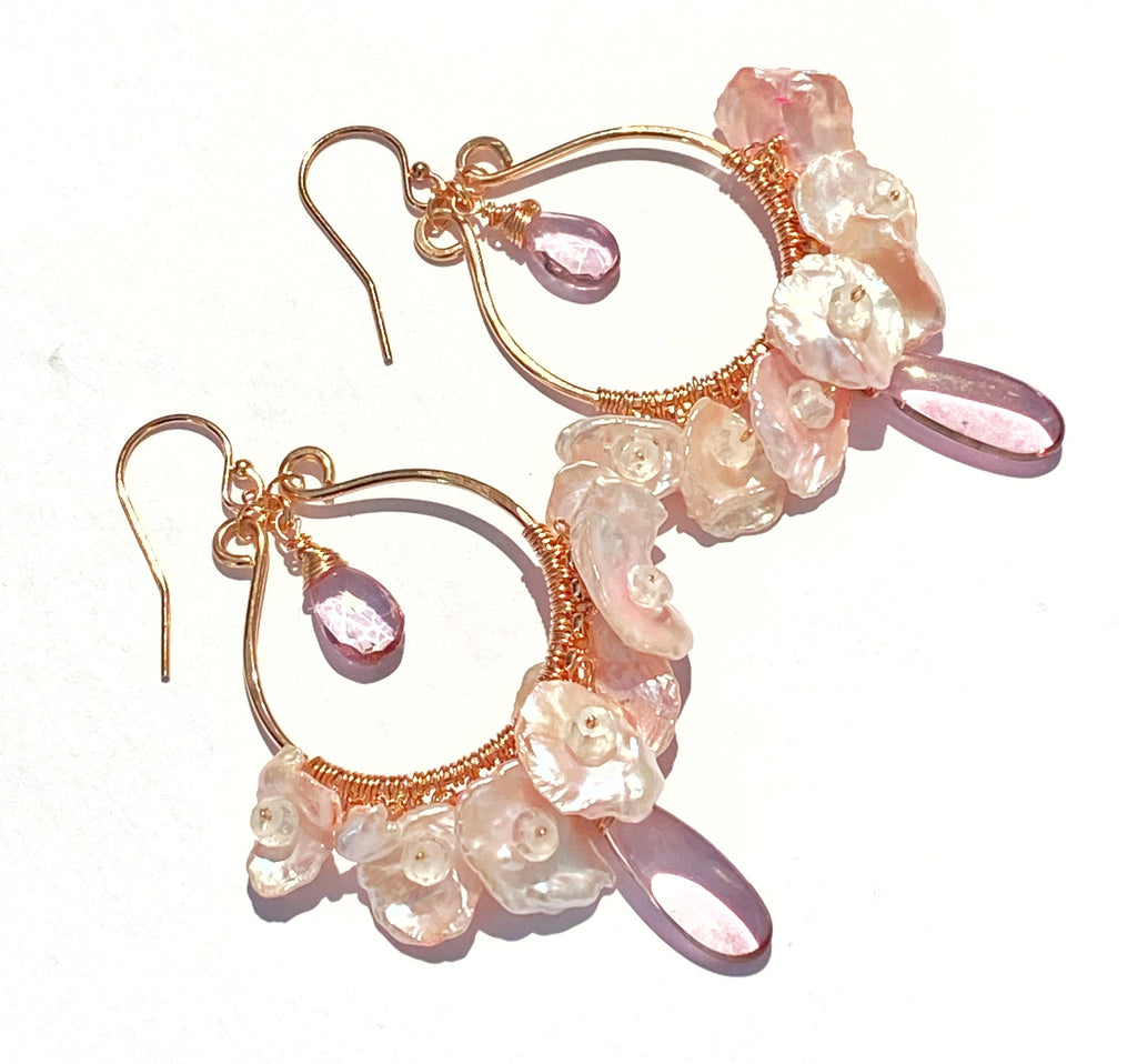 Rose Gold Hoop Earrings with Blush Keishi Pearls and Pink Topaz