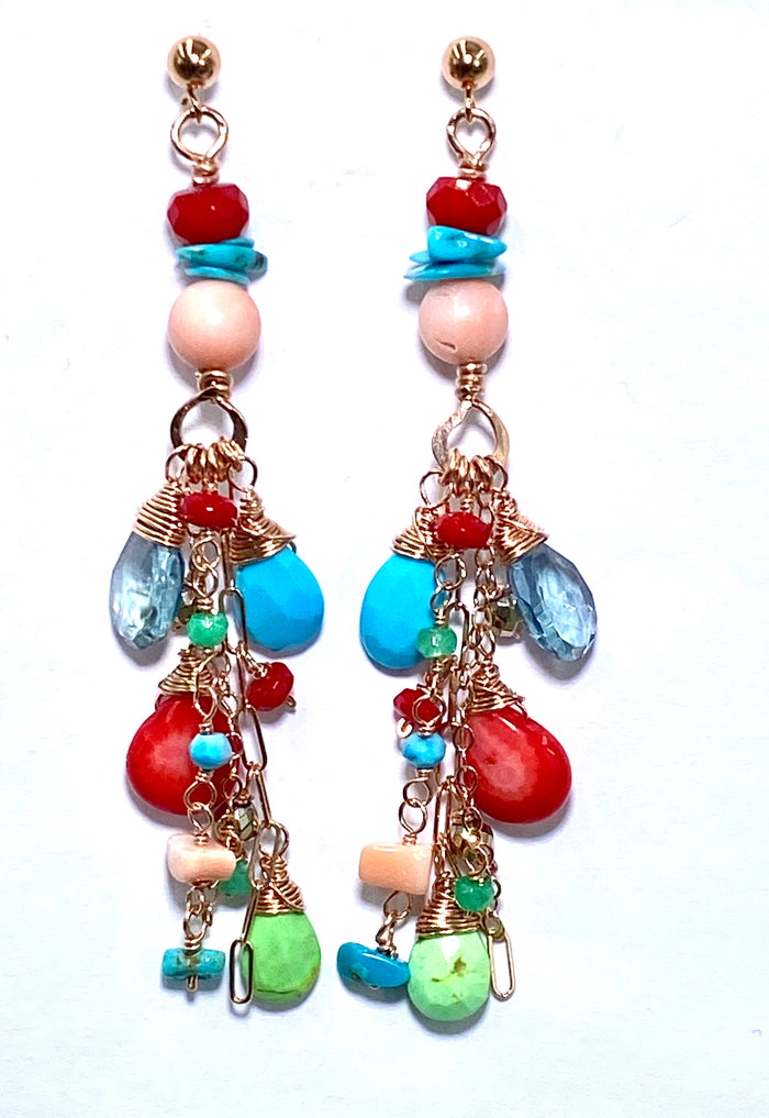 Turquoise Red Coral Rose Gold Long Boho Dangle Earrings