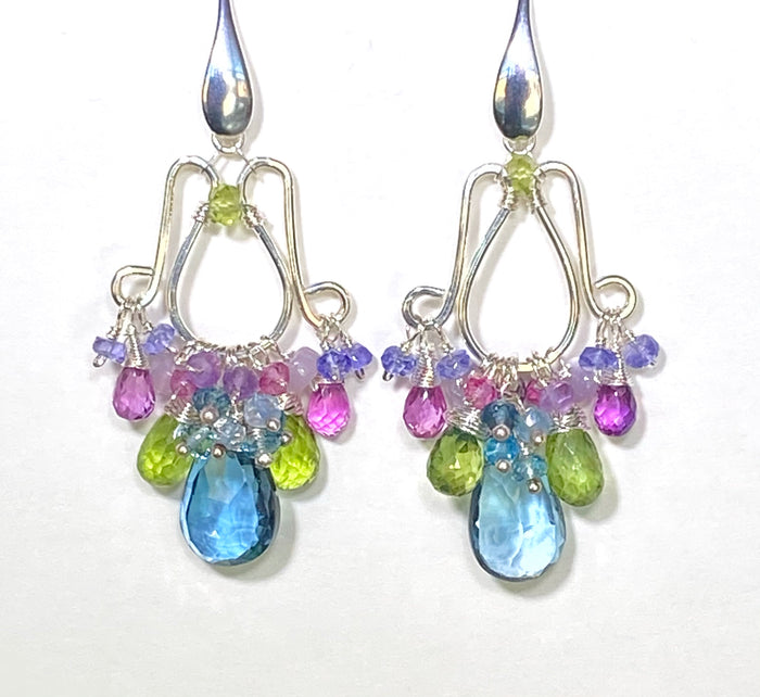 Multicolor Gemstone Chandelier Earrings Sterling Silver London Blue Topaz Peridot Violet