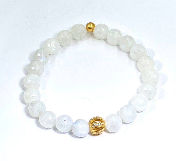 Rainbow Moonstone Stretch Stacking Bracelet with Gold Pave CZ - doolittlejewelry