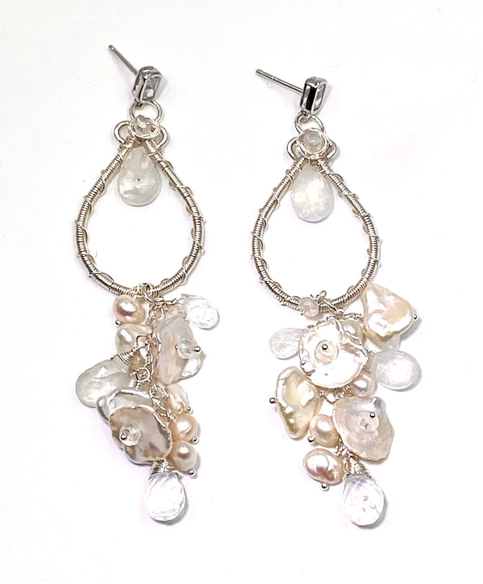 Moonstone Pearl Bridal Earrings Keishi Pearl Crystal Sterling Silver - doolittlejewelry