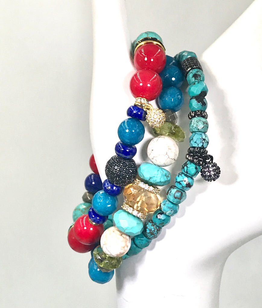 Turquoise, Citrine and Multicolor Gemstone Stacking Bracelet Set of 3 - doolittlejewelry