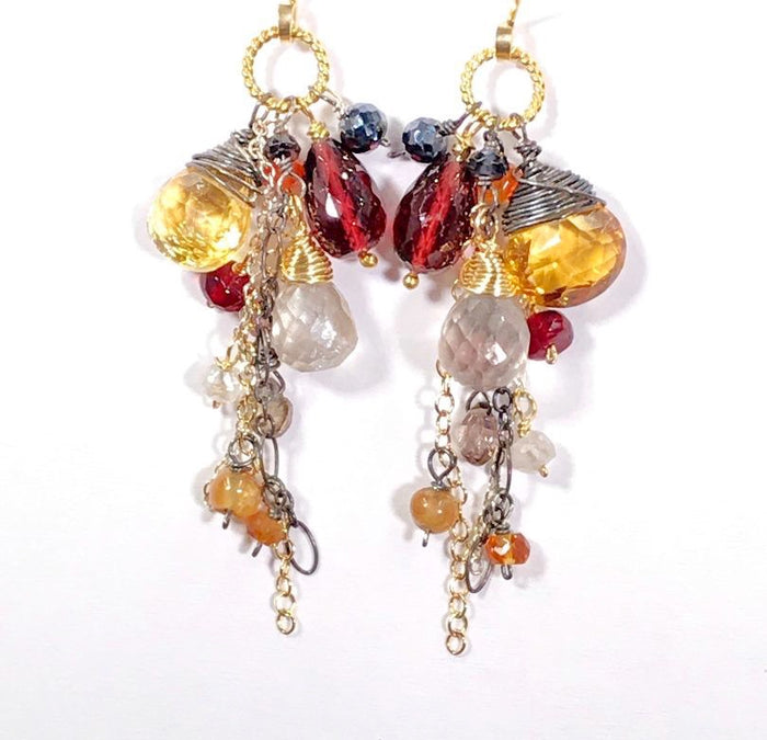 Multi Gemstone Dangle Earrings Garnet Citrine Mixed Metal - doolittlejewelry