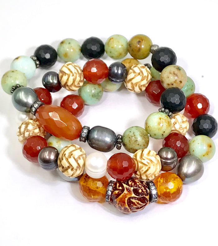 Earth Tone Gemstone and Pearl Stretch Stack Bracelet Set of 3 - doolittlejewelry