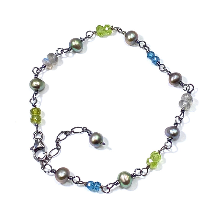 Gemstone Pearl Wire Wrapped Boho Style Bracelet - London Blue Topaz, Labradorite, Peridot
