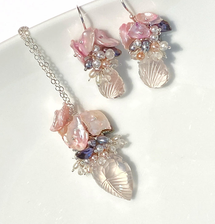 Rose Quartz Carved Leaf Necklace Set Pearl Clusters