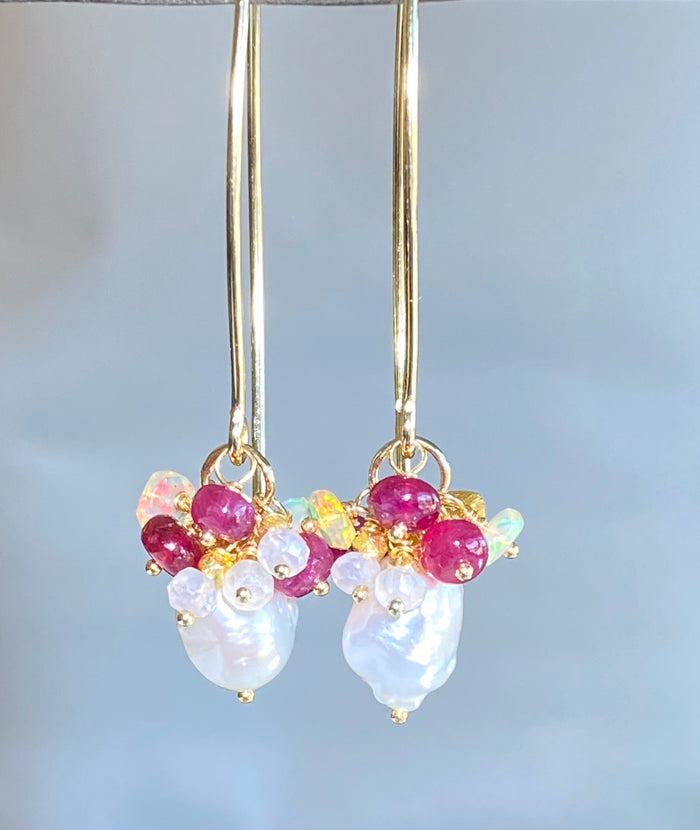 Ruby and Opal Cluster Long Pearl Earrings - doolittlejewelry