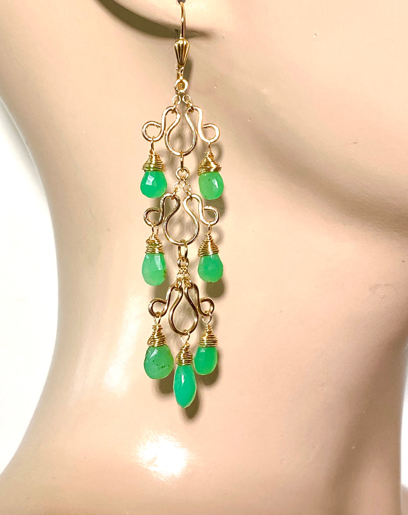 Green Chrysoprase Gemstone Long Gold Filled Chandelier Earrings - doolittlejewelry
