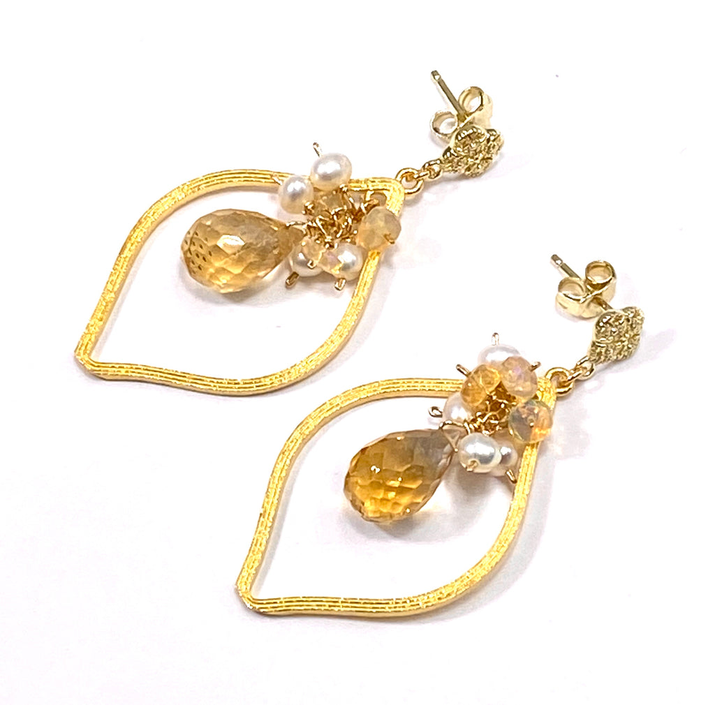 Citrine, Opal, Pearl Gold Hoop Earrings Post - doolittlejewelry
