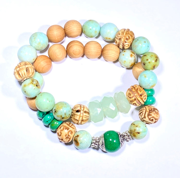 Boho Stretch Bracelet Stack Set of 2 Green Peruvian Opal Mongolian Turquoise Carved Bone - doolittlejewelry