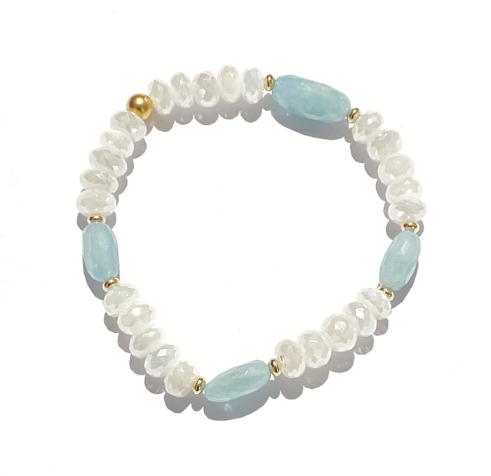 Aquamarine and Ivory Mystic Moonstone Stretch Stack Bracelet