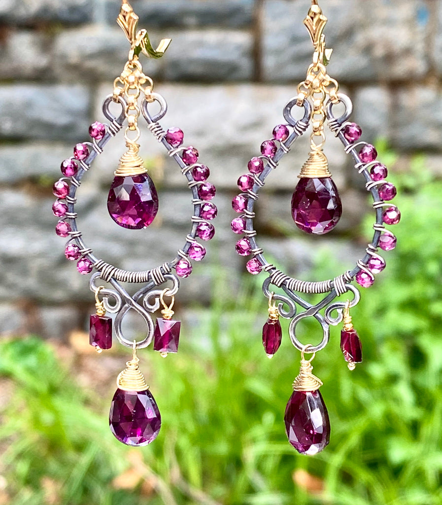 Rhodolite Garnet Chandelier Earrings Mixed Metal Boho Style Oxidized Silver Gold Fill