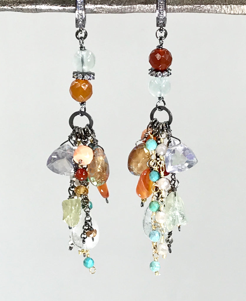 Aquamarine, Carnelian Long Boho Dangle Earrings Oxidized Sterling Silver - doolittlejewelry
