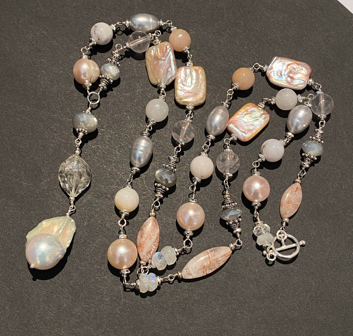 Long Silver Gemstone Pearl Necklace Blush Pink & Grey Toggle Clasp