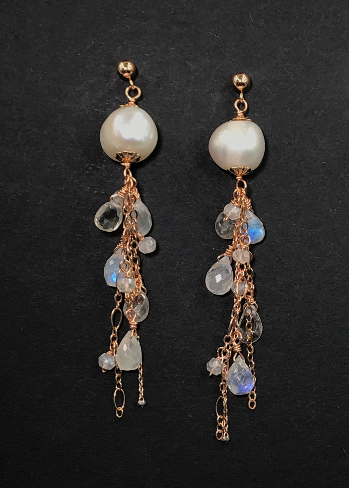 Rose Gold Pearl Moonstone Clear Zircon Long Dangle Earrings - doolittlejewelry
