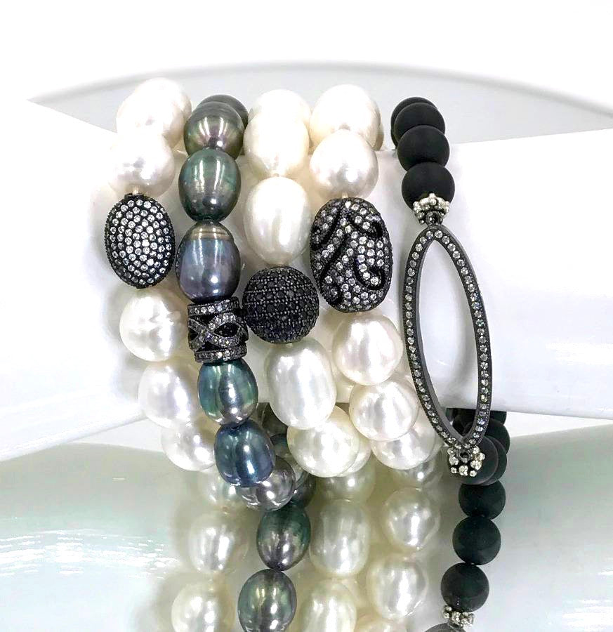 Baroque Pearl and Oxidized Silver Stacking Bracelet - doolittlejewelry