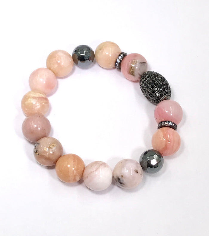 Pink Peruvian Opal and Black Pave CZ Stack Bracelet - doolittlejewelry
