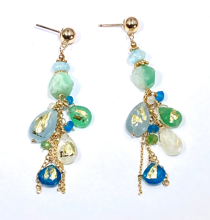 Blue Green Boho Dangle Earrings 24 kt Gold Leaf - Chrysoprase, Aquamarine, Moonstone, Apatite - doolittlejewelry