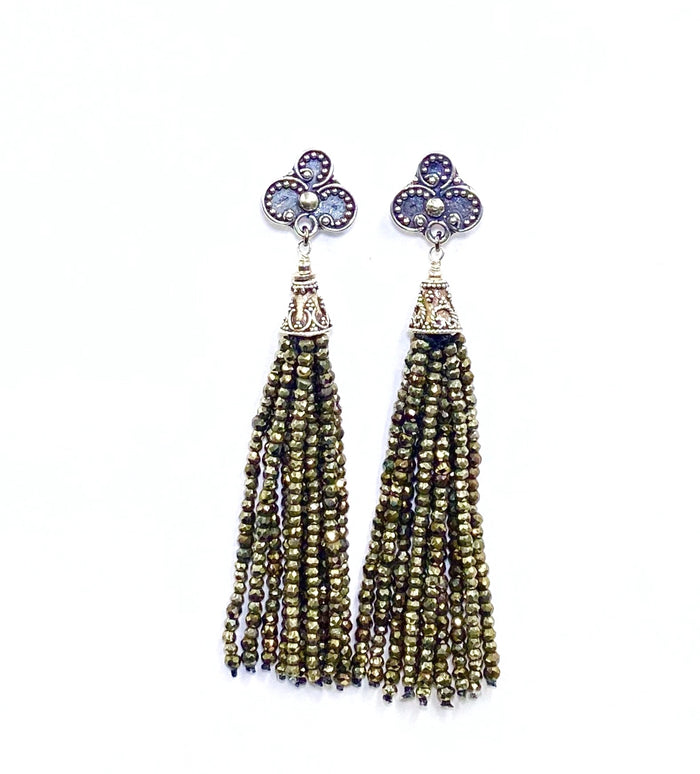 Pyrite Tassel Earrings Gold Mystic Spinel Sterling Silver