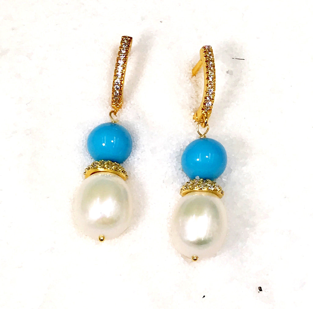 Pearl and Turquoise Wedding Earrings
