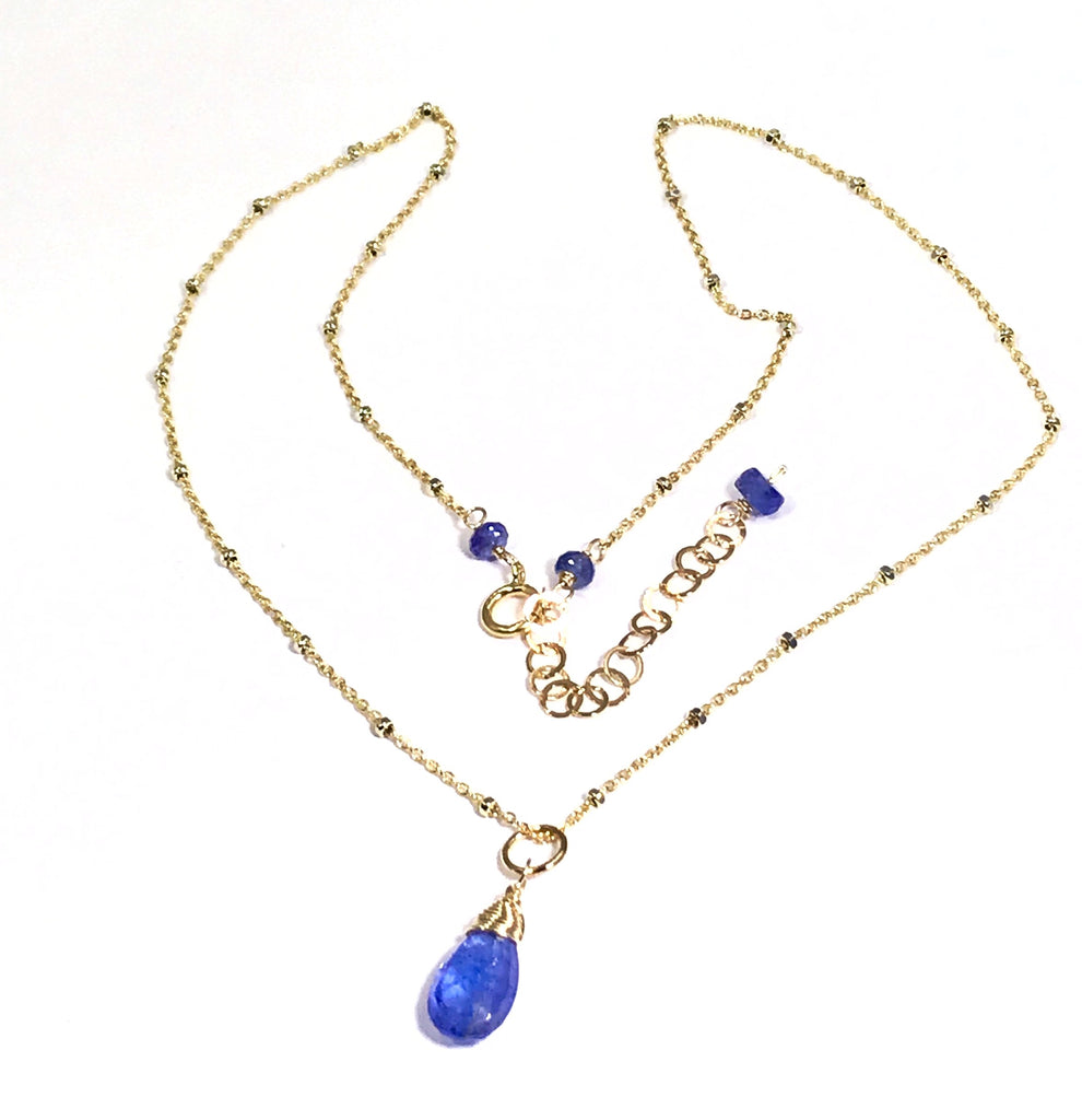 Tanzanite Layering Necklace Dainty Pendant Gold Fill