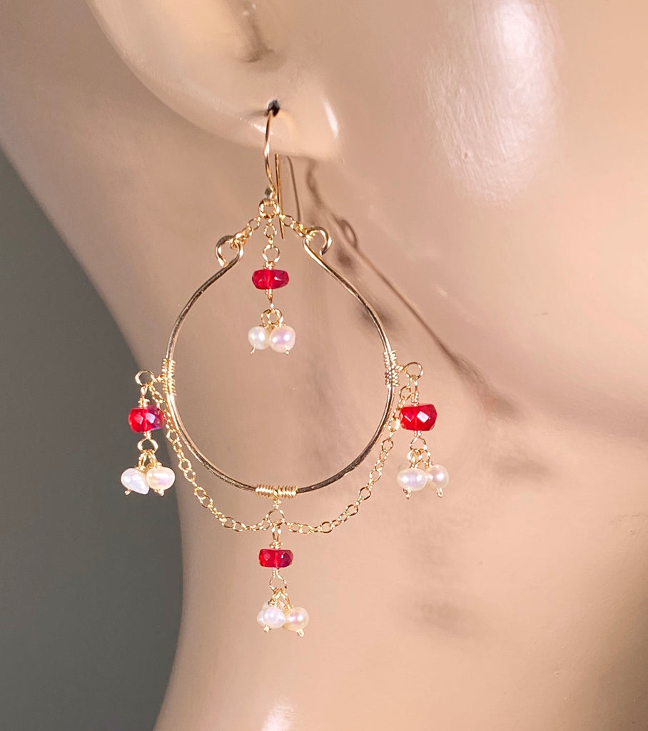 Ruby Red Opal Pearl Gold Fill Hoop Earrings - doolittlejewelry