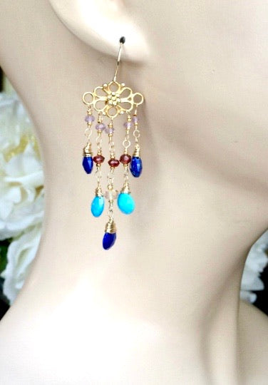 Turquoise, Blue Lapis and Garnet Chandelier Earring - doolittlejewelry