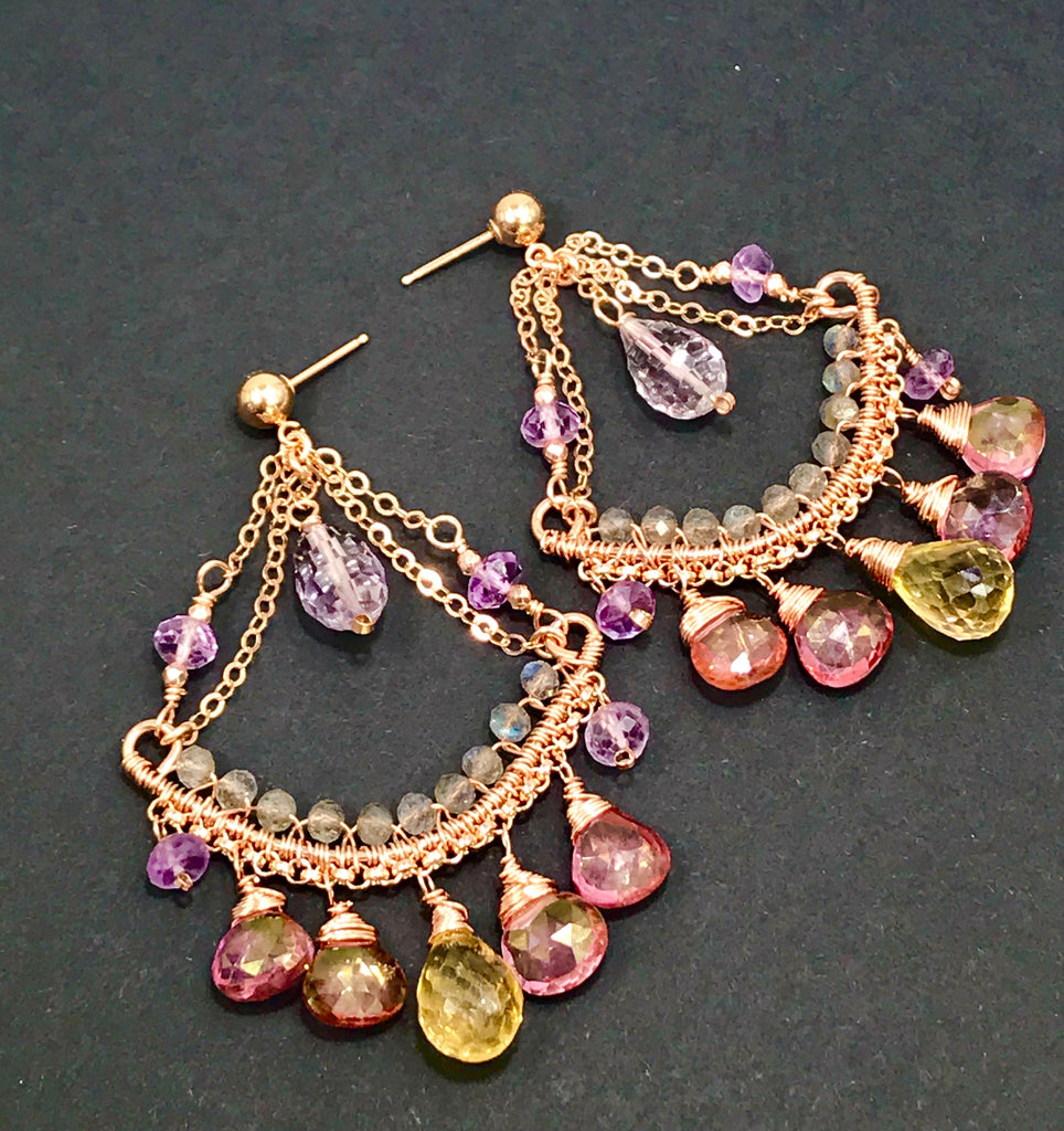 Rose Gold Gemstone Chandelier Earrings Pink Mystic Quartz Amethyst Citrine Labradorite - doolittlejewelry