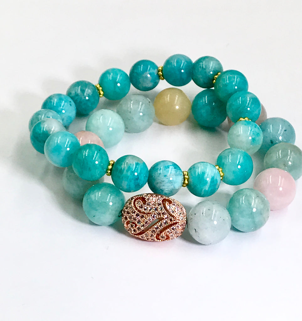 Amazonite Blue Green Gemstone Stretch Stacking Bracelet - doolittlejewelry