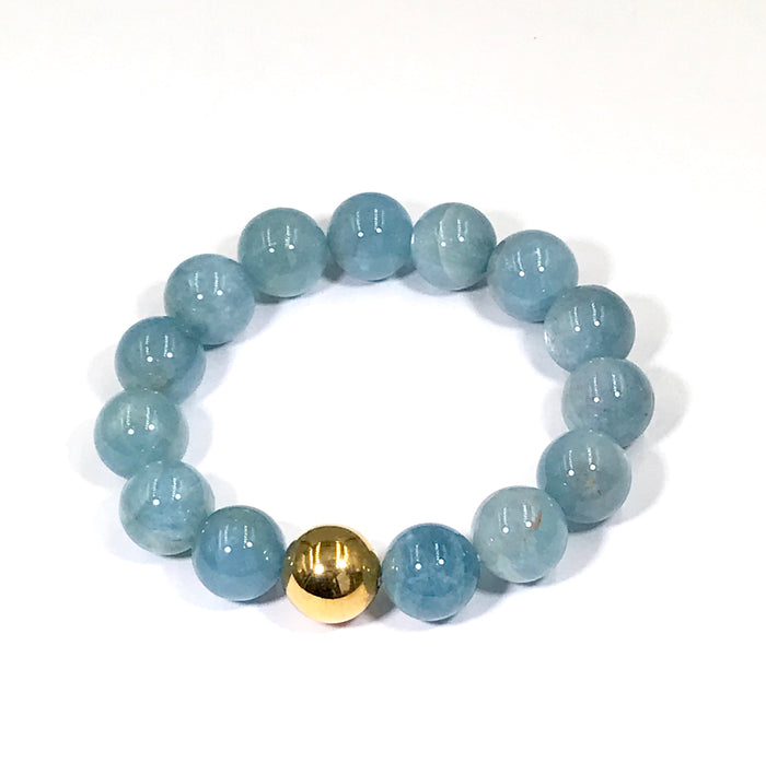 Blue Aquamarine Stretch Stacking Bracelet Gold - doolittlejewelry