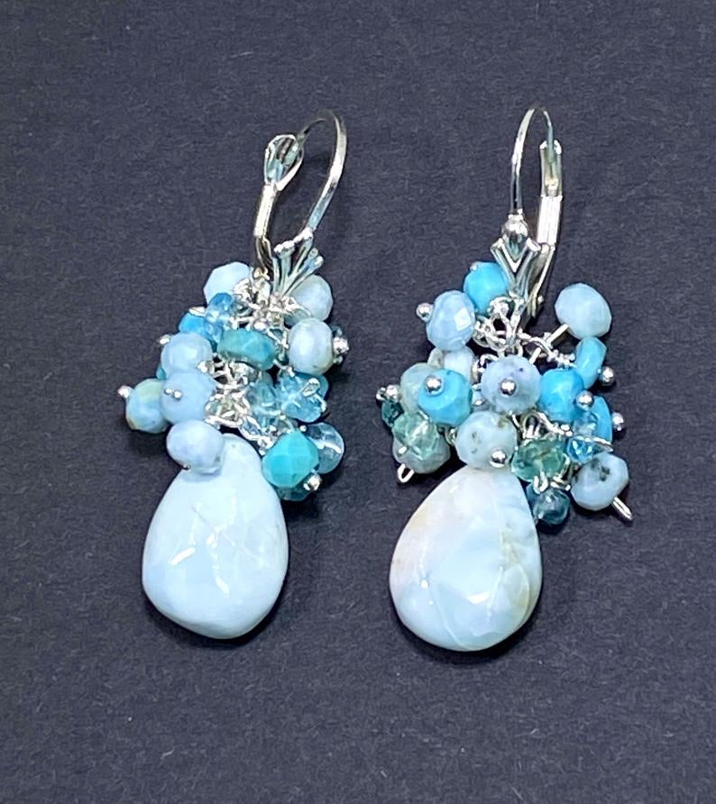 Sterling Silver, Larimar and Gemstone Cluster Earrings - doolittlejewelry