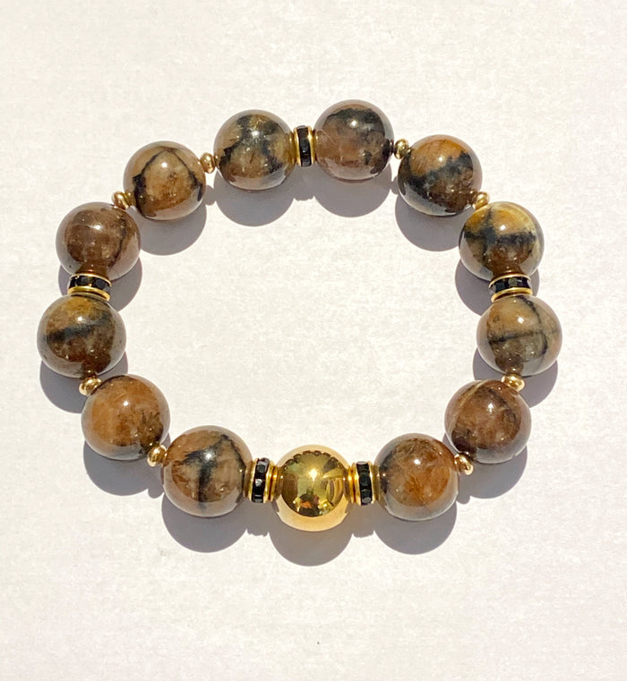 Rose Gold and Andalusite Brown Layering Bracelet