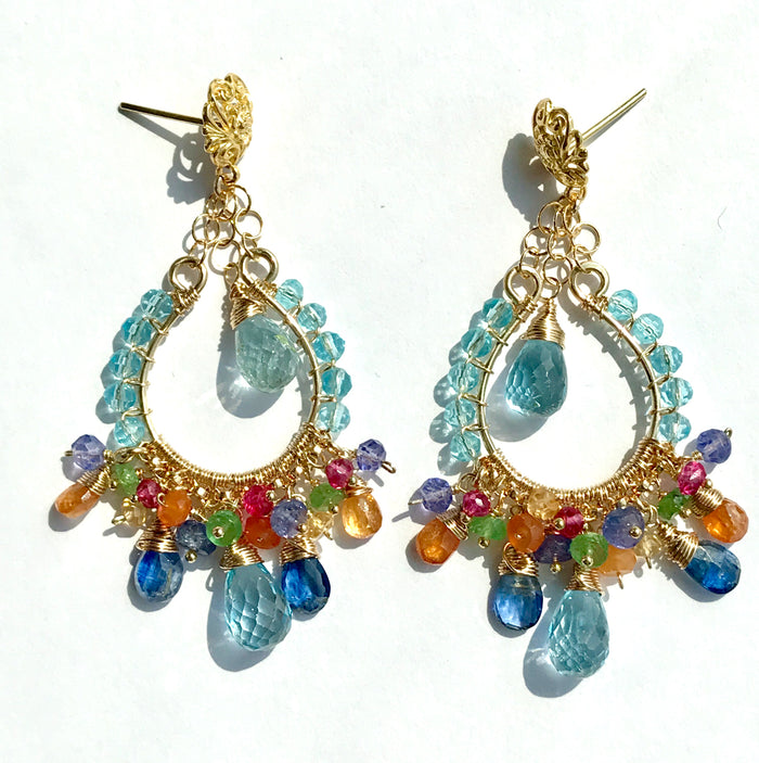 Blue Topaz Multicolor Gemstone Hoop Earrings in Gold Fill - doolittlejewelry