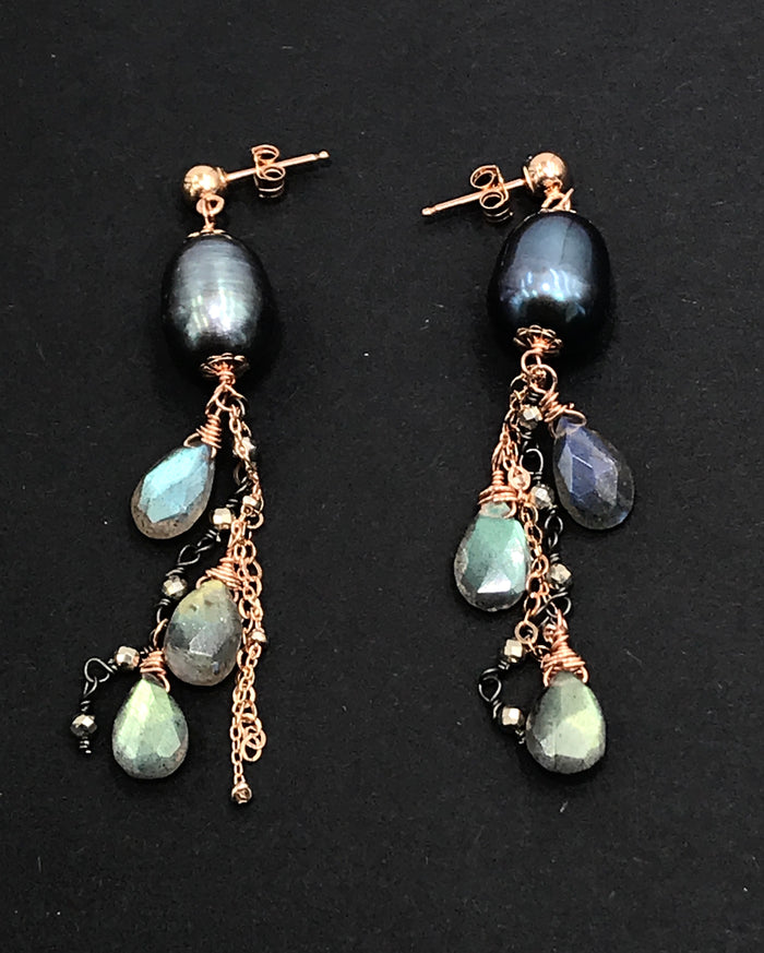 Rose Gold Labradorite and Pearl Dangle Earrings - doolittlejewelry
