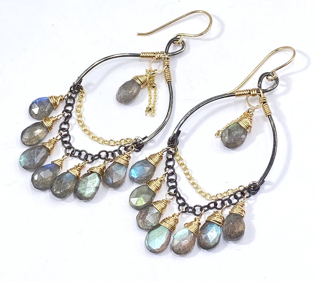 Labradorite Mixed Metal Boho Chandelier Hoop Earrings
