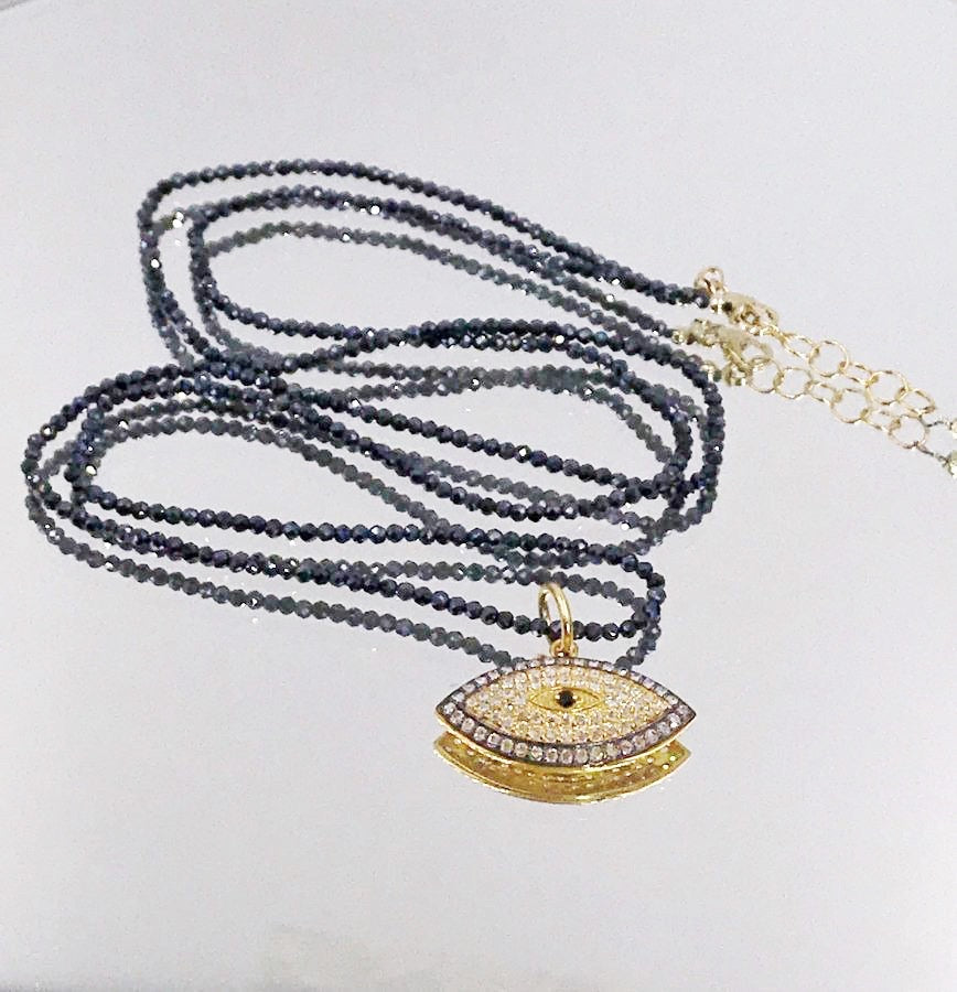 Evil Eye and Pave Diamond Look Long Black Spinel Necklace - doolittlejewelry