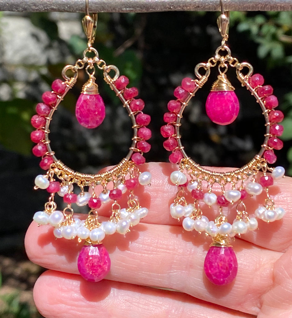 Red Ruby and Pearl Gold Hoop Statement Earrings