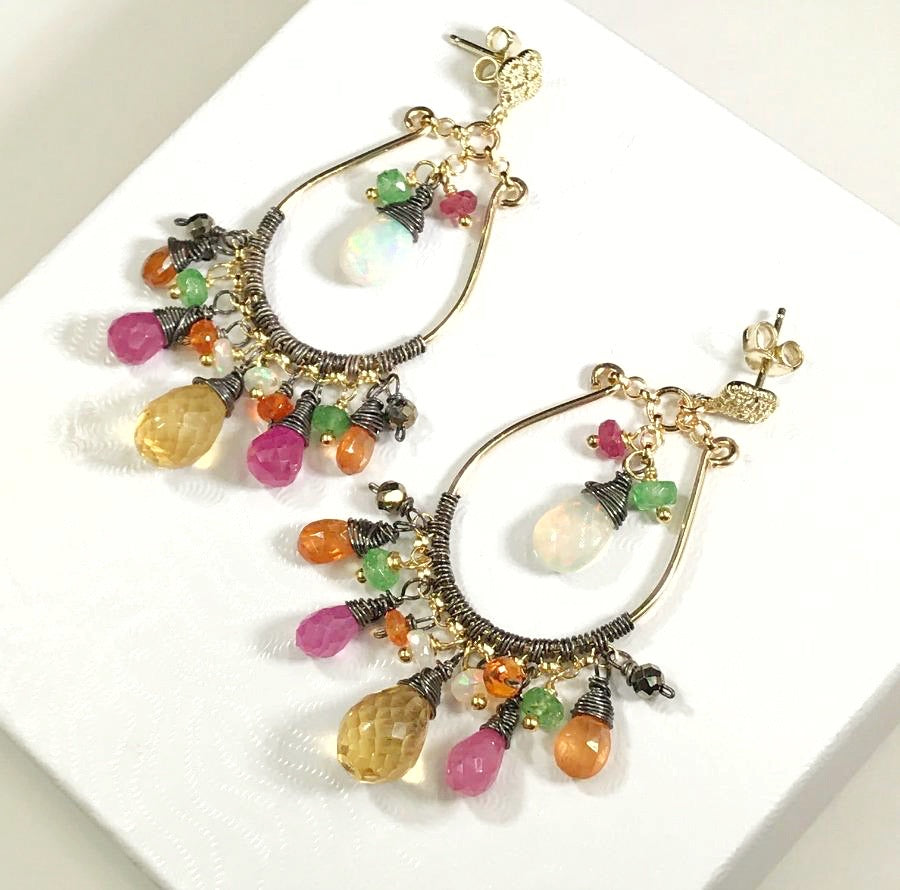 Opal Mixed Metal Multicolor Hoop Earrings - doolittlejewelry
