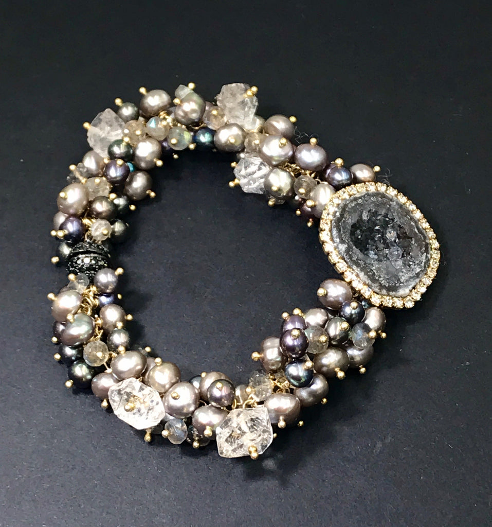 Black Tabasco Geode Cluster Bracelet with Herkimer Diamond Quartz - doolittlejewelry