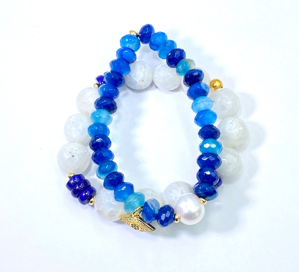 Blue and White Boho Stretch Bracelet Stacking Set of 2 Rainbow Moonstone Blue Lapis - doolittlejewelry