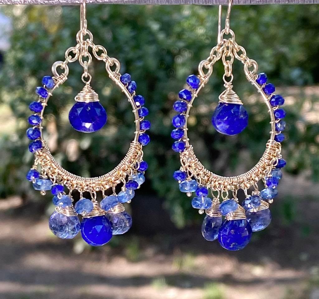Blue Gemstone Gold Hoop Earrings Lapis Kyanite Iolite