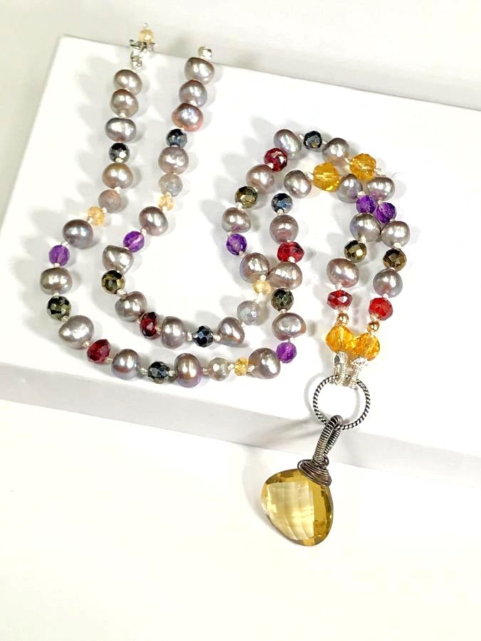 Knotted Gemstone and Pearl Beaded Necklace - doolittlejewelry