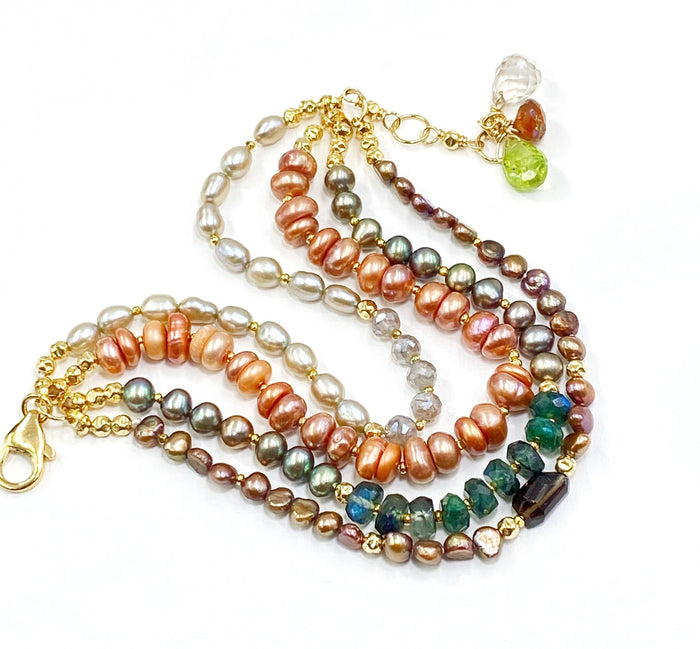 Multi-strand Pearl and Gemstone Clasp Bracelet