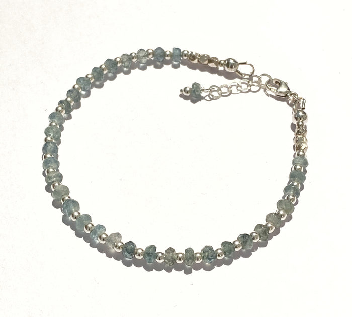 Moss Aquamarine Dainty Bracelet Sterling Silver Adjustable