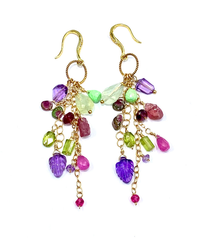 Pink Tourmaline Watermelon Slice Carved Amethyst Long Boho Gem Earrings Gold - doolittlejewelry
