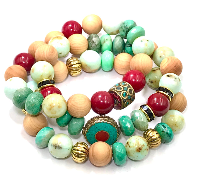 Red and Green Gemstone Stretch Stack Bracelet Set of 3 Sandalwood, Tibetan Beads - doolittlejewelry