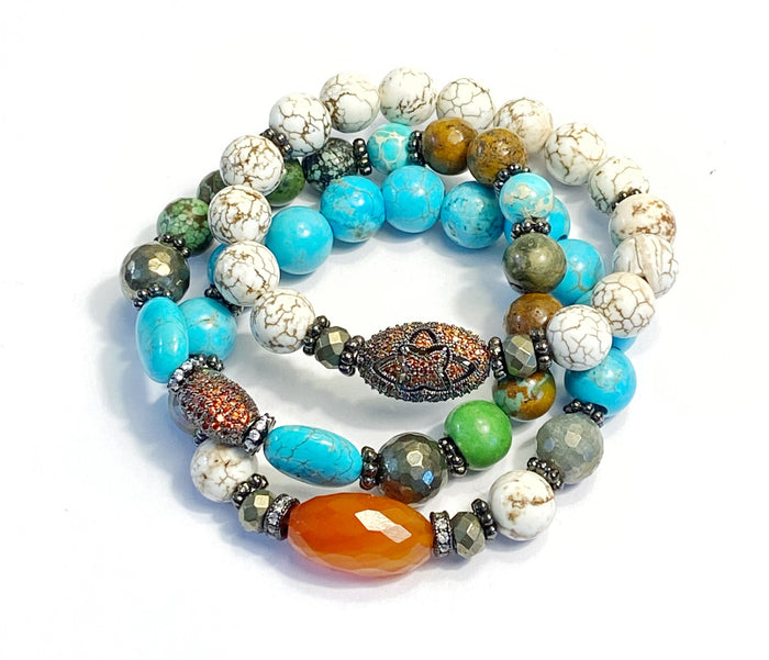 Turquoise, Carnelian Stretch Bracelets Set of 3 Stack
