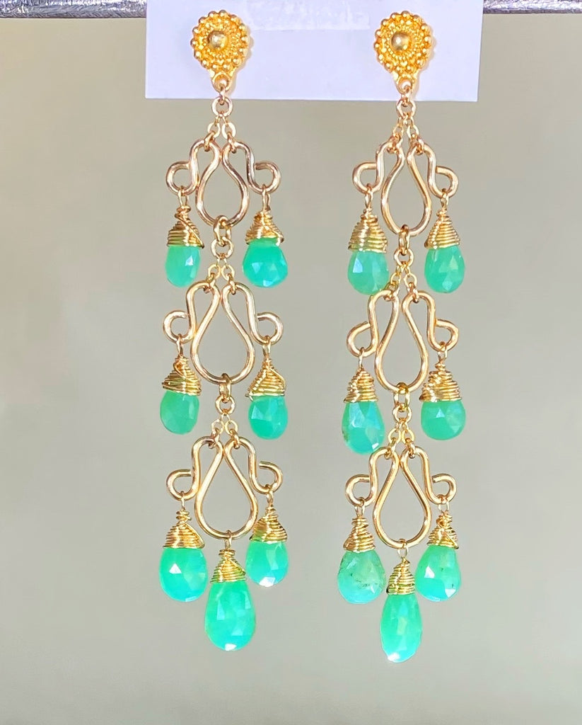 Green Chrysoprase Gemstone Long Gold Filled Chandelier Earrings
